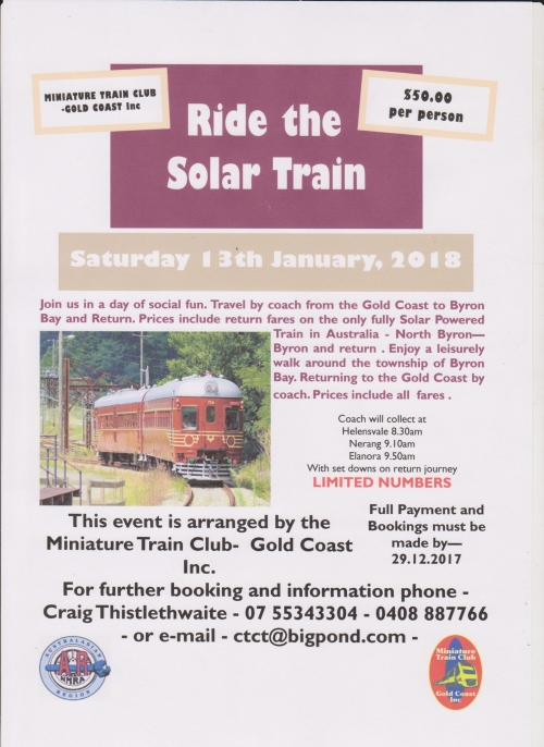 Miniature Train Club-Gold Coast Inc event 13 Jan 2018